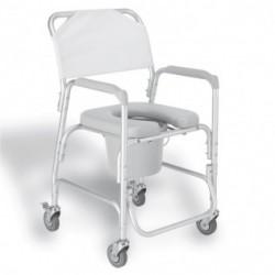 Silla de baño aluminio con asiento acolchado
